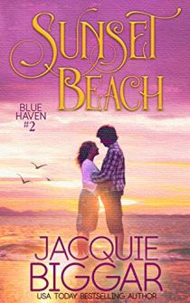 Book cover for sunset beach by Jacquie Biggar shows young couple embrace in front of ocean at sunset