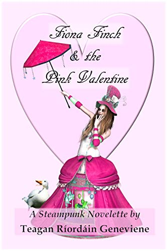 Book cover with cute illustration of woman in steampunk dress with pink umbrella and a duck by her skirt
