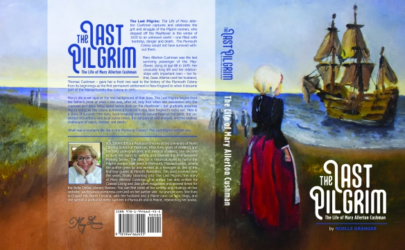 Book cover for The Last Pilgrim by Noelle Granger shoes girl in colonial dress standing on shore looking to clipper ship at sea