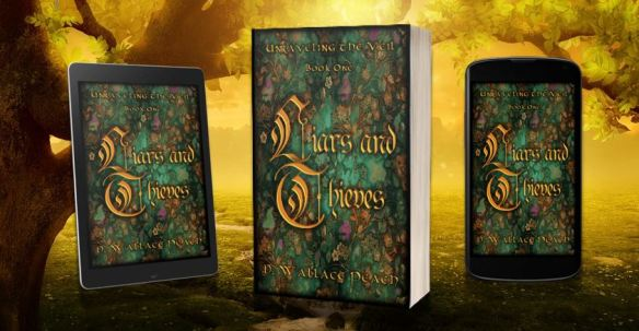 Banner ad for Liars and Thieves by D. Wallace Peach shows book, plus Kindle and e-reader versions