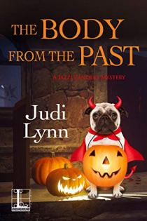 Book cover for The Body From the Past by Judi Lynn shows cute pug dog in devil costume with jack-o-lanterns
