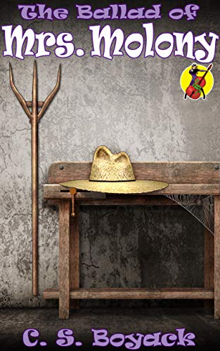 Book cover for The Ballad of Mrs. Molony shows straw cowboy hat on wooden table with cobwebs, pitchfork beside table