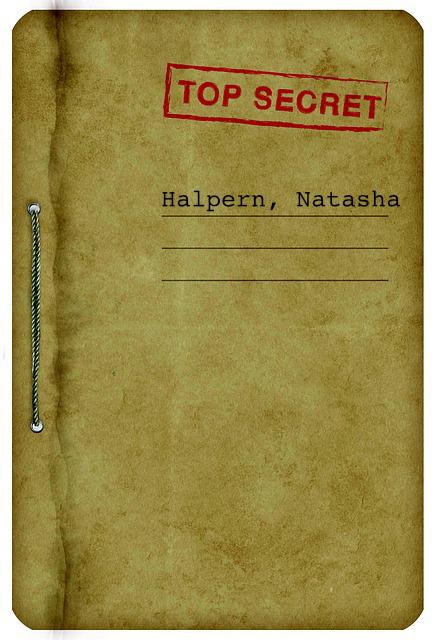 file folder marked top secret with name of agent Halpern, Natasha