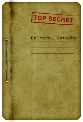 file folder marked top secret with name of agent Halpern, Natasha
