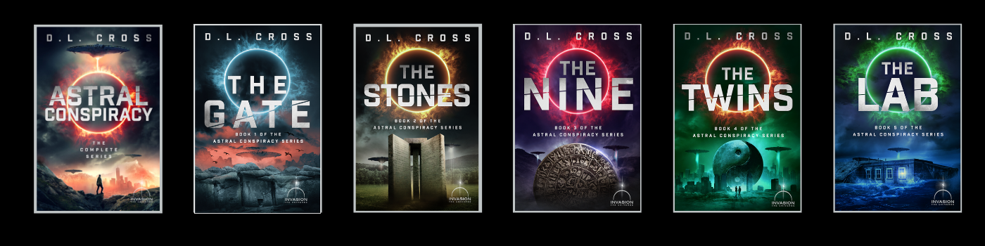 Book covers of all five novels in Astral Conspiracy series by D.L. Crossa