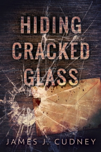 book cover of Hiding Cracked Glass, dramatic shattered glass over old envelope on wood grain surface