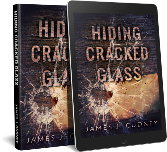 Kindle and paperback covers of Hiding Cracked Glass, dramatic shattered glass over old envelope on wood grain surface