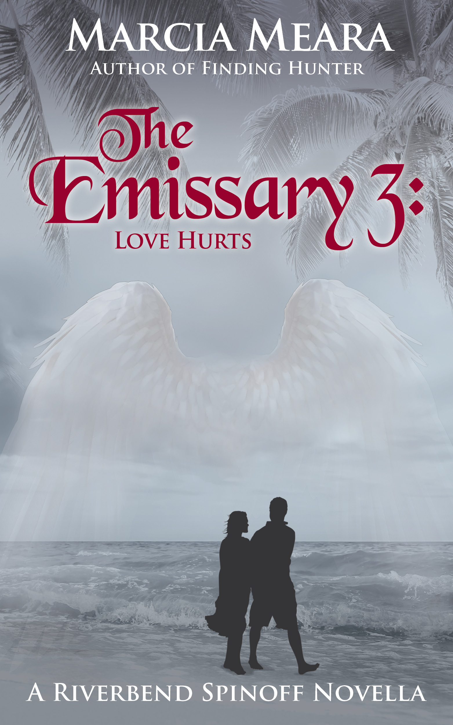 book cover for The Emissary 3 by Marcia Meara shows silhouettes of couple gazing an ocean, angel wings over sky