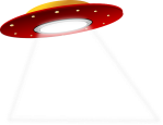 graphic of flying saucer emitting a beam of light