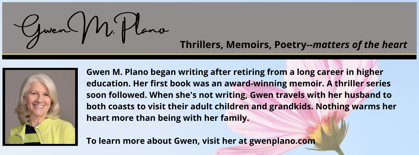 Bio box for Gwen Plano