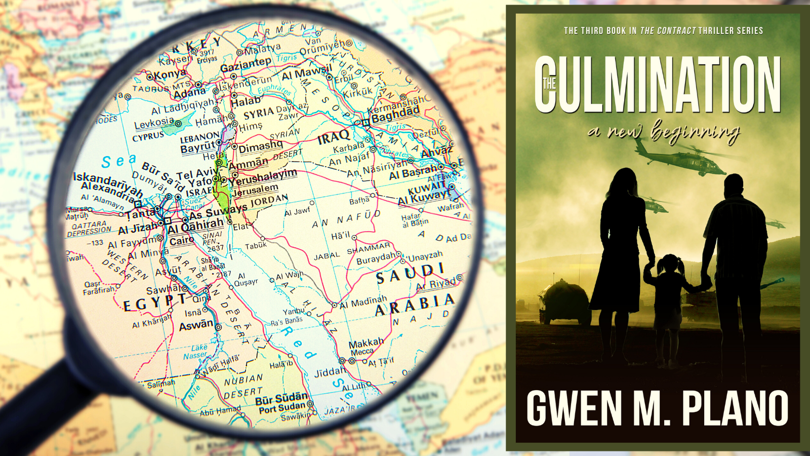 Kindle book The Culmination beside map of Middle East with magnifying glass over map