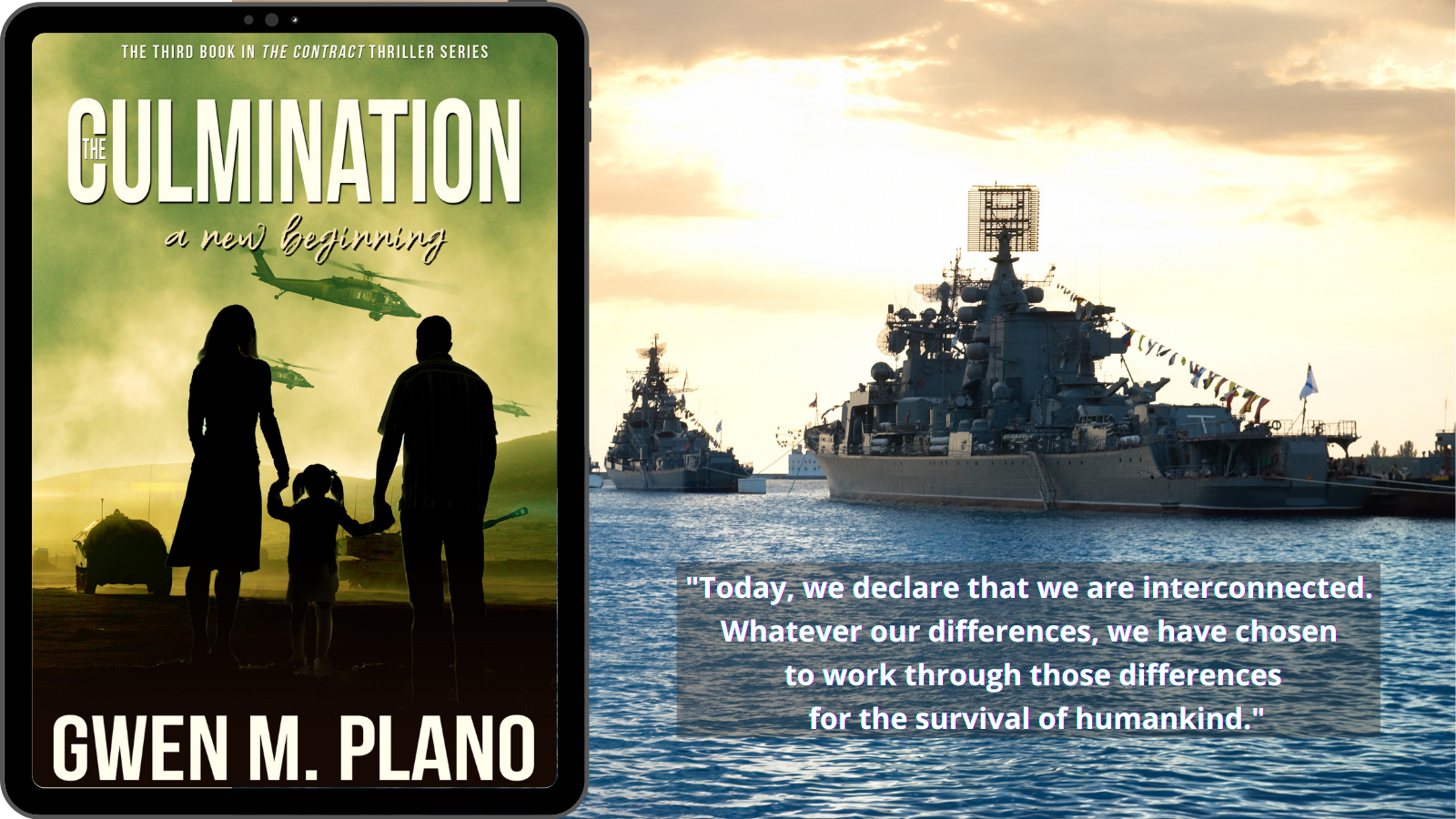 kindle reader with book  The Culmination, a military thriller shows silhouettes of couple holding hands with young girl, military chopper in background