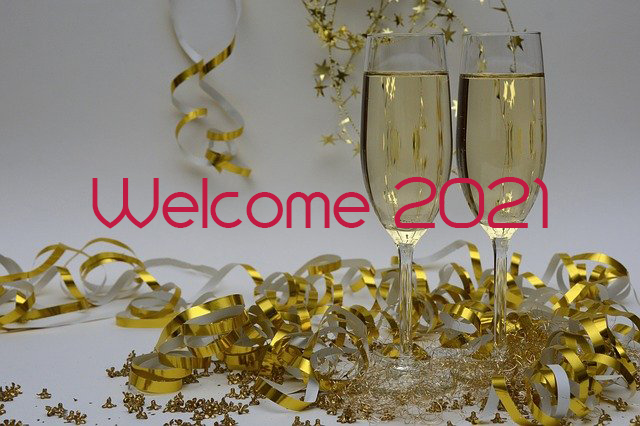 "two champagne glass surrounded by gold ribbon and sparkles, with ""Welcome 2021"" overlaid on image"