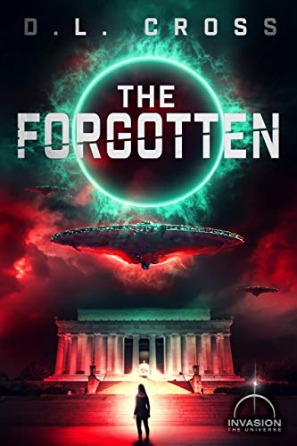 Book cover for The Forgotten shows large space ship on angry sky hovering over Grecian-inspired building