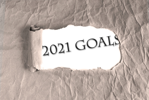 Word 2021 Goals on torn brown grunge paper background