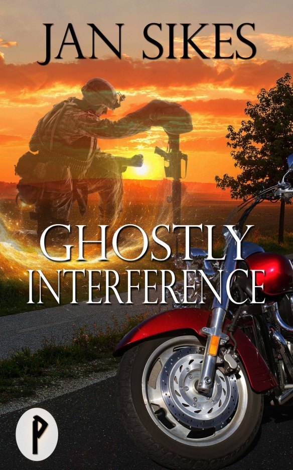 Book cover for Ghostly Interference shows ghost image of kneeling GI in background, motorcycle and road in foreground