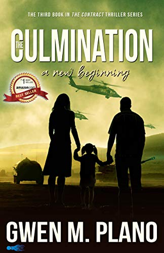 Book cover of The Culmination shows silhouette of couple holding hands with young girl in pigtails, war tanks in background