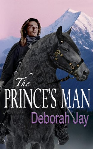 Book cover for The Prince's Man shows image of long-haired handsome young man in cloak on horseback
