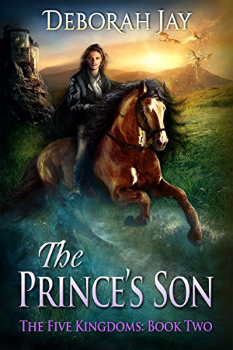 Book cover for The Prince's Son shows image of long-haired handsome young man in cloak on horseback