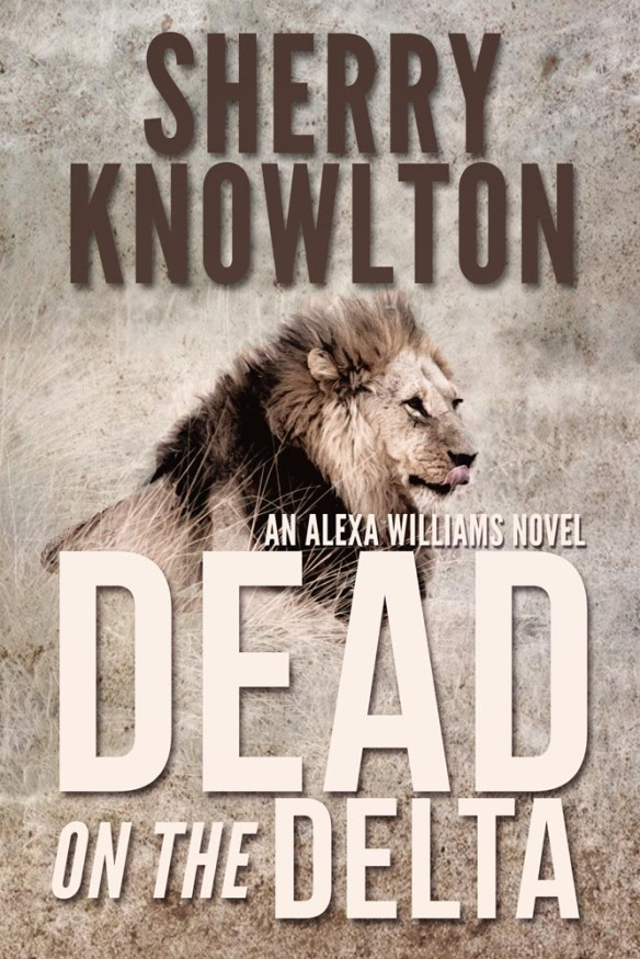 Book cover for Dead on the Delta by Sherry Knowlton shows lie lying in grass