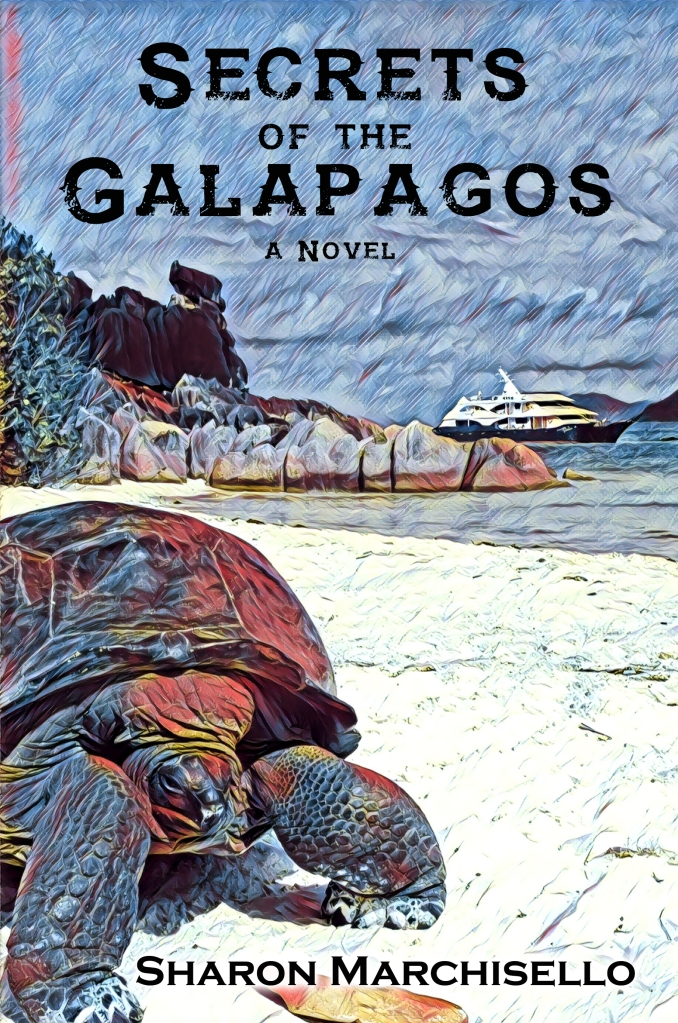 book cover Secrets of the Galapagos, large tortoise in front on sand beach, cruise liner in background