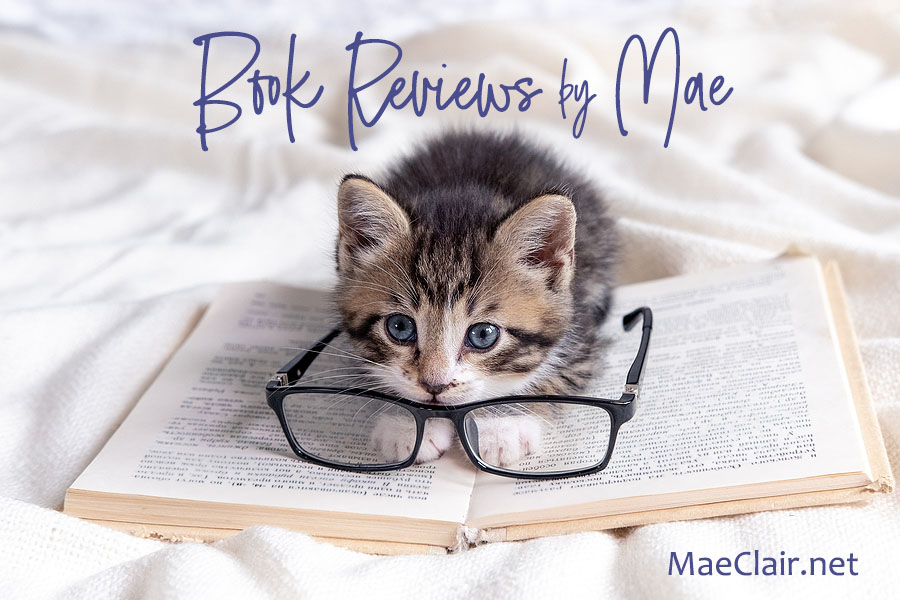 Striped kitten lying on open book, eyeglasses resting on pages. Book and kitten on white blanket