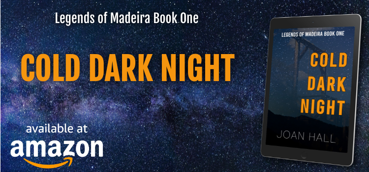 Promo graphic for cold dark night shows kindle reader on starry background. Kindle book cover shows gallows lightly imposed on dark starry sky, mountains in foreground