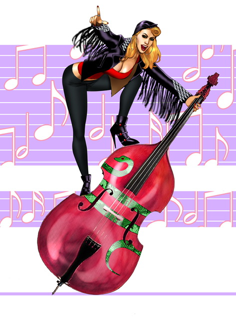 Sexy blonde woman in tight black pants,  black ankle boots and black fringe jacket standing on tilted upright bass with python image covering center of bass