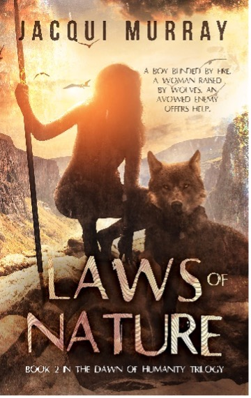 Book cover for Lawns of nature shows prehistoric buy holding staff crouched by wolf, rugged cliffs in background