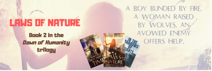 Banner ad for Laws of Nature by Jacqui Murray shows three book covers from series of watermark image of prehistoric boy in background