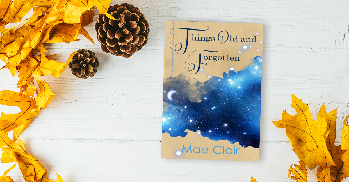 Book Things Old and Forgotten by Mae Clair on white boards surrounded by dried autumn leaves and pinecones