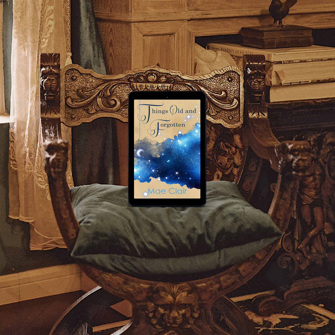 ebook showing cover for Things Old and Forgotten by author Mae Clair on old and opulent chair with wood carvings