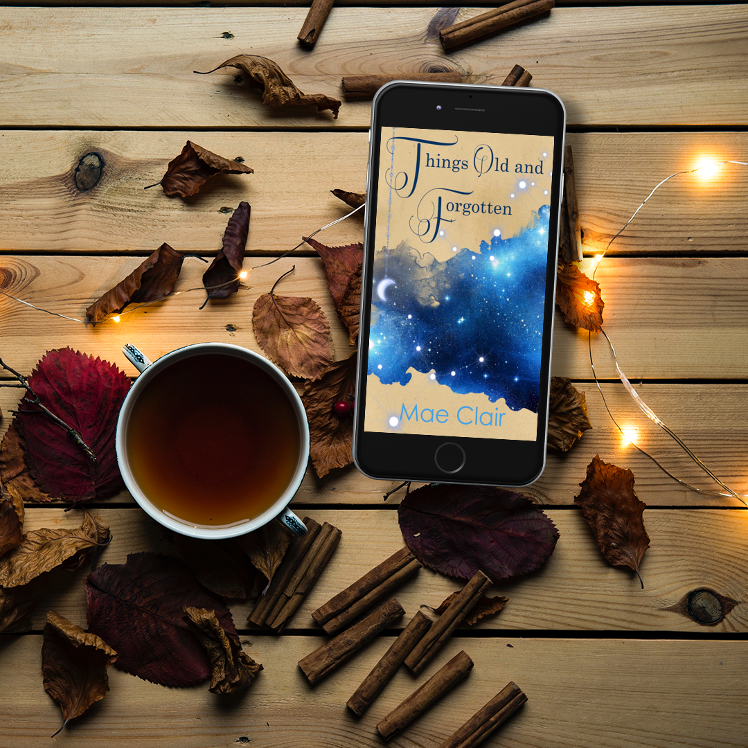cell phone featuring cover of Things Old and Forgotten by author Mae Clair, resting on top of pine boards surrounded by dried leaves, fairy lights and cinnamonsticks