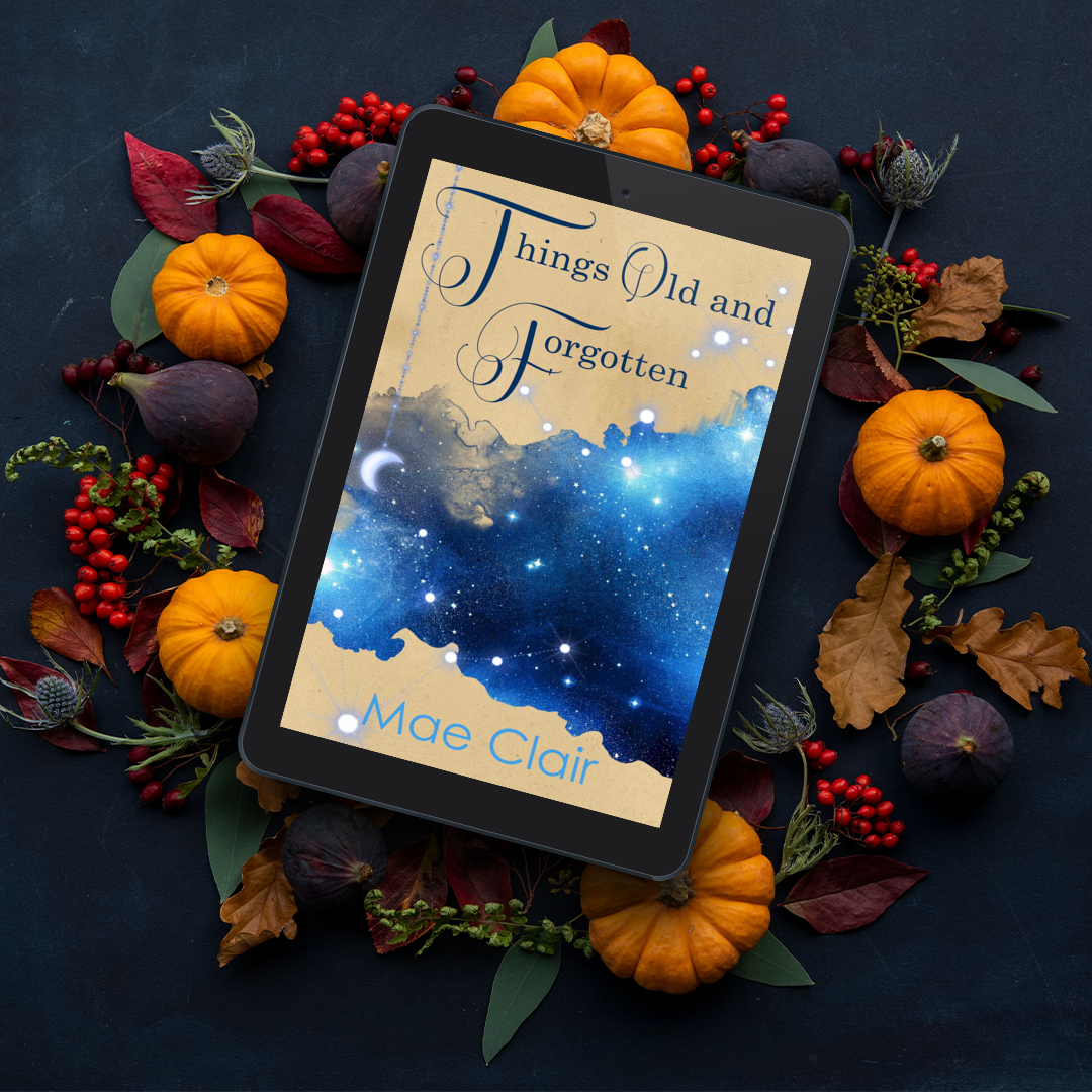 ebook of Things Old and Forgotten by author Mae Clair on top of ring of small gourds, and fall leaves and berries